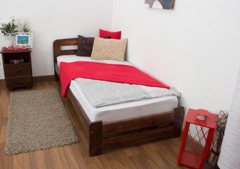eenpersoonsbed / logeerbed massief grenenhout kleur walnoten A7, incl. lattenbodem - afmetingen: 90 x 200 cm