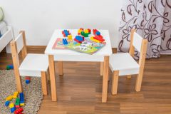 Kindertafel Laurenz Beuken massief hout naturel/wit - Afmetingen: 47 x 50 x 50 cm (H x B x D)
