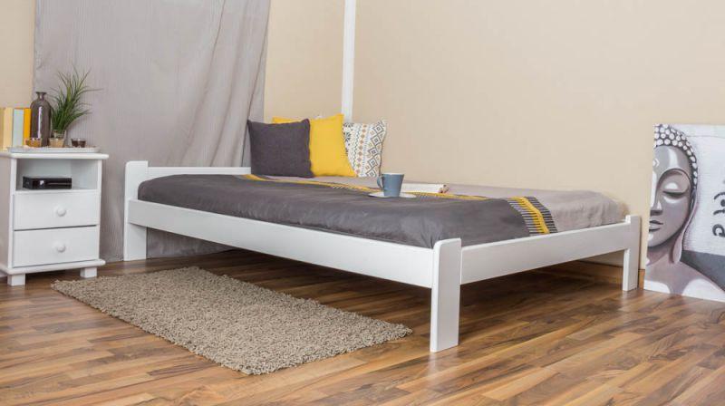 Futonbed / , vol hout, bed massief grenen wit A8, incl. lattenbodem - afmetingen 140 x 200 cm