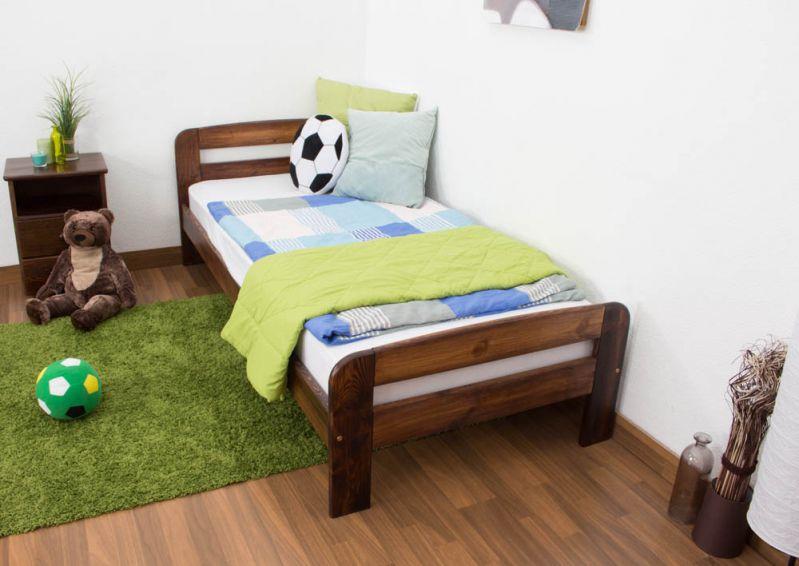 kinderbed / jeugdbed massief grenenhout, kleur walnoten kleur A6, incl. lattenbodem - afmetingen 90 x 200 cm