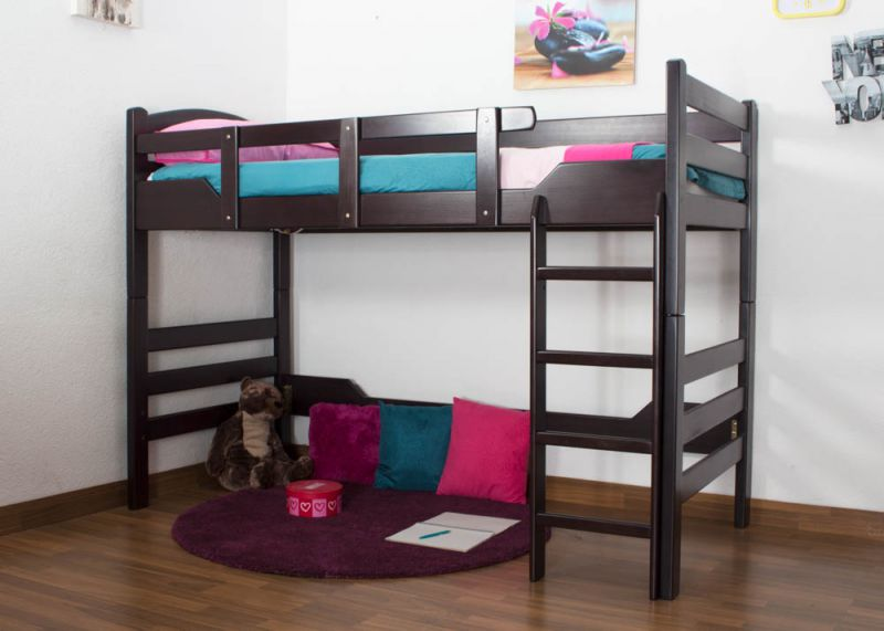 """kinderbed/Hoog bed """"Easy Premium Line"""" K14/n, massief beukenhout kleur: chocoladebruin - afmetingen: 90 x 200 cm"""