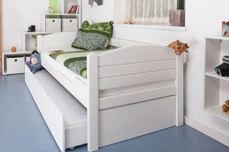"""Eenpersoonsbed / logeerbed """"Easy Premium Line"""" K1/s Voll incl. 2e slaapplaats en 2 afdekplaten, 90 x 200 cm massief beukenhout wit gelakt"""