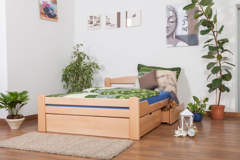 """Eenpersoonsbed met opbergruimte  """"Easy Premium Line"""" K4, incl. 2 laden en 1 deksel, 140 x 200 cm massief beukenhout naturel"""