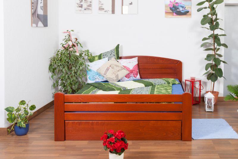 """Tweepersoonsbed """"Easy Premium Line"""" K7 incl.1 afdekplaat, 160 x 200 cm massief beukenhout, kleur: kersenhout"""