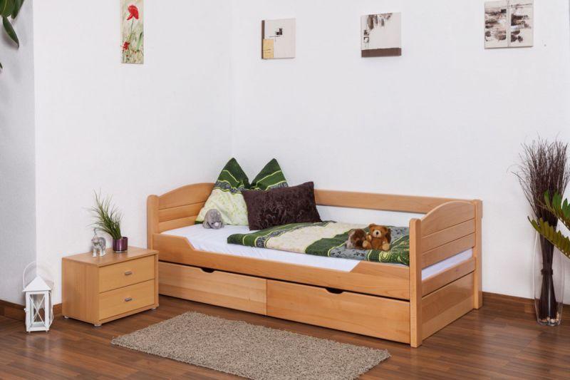 """Eenpersoonsbed  """"Easy Premium Line"""" K1/s Voll incl. 2 laden en 2 afdekpanelen, 90 x 200 cm massief beukenhout naturel"""