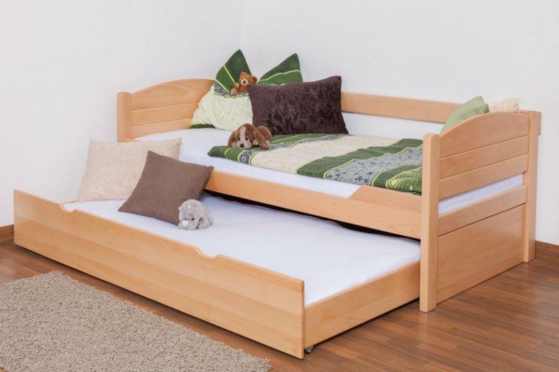 """Eenpersoonsbed / speciaal bed """"Easy Premium Line"""" K1/s Voll incl. 2e onderschuifbed en 2 afdekpanelen, 90 x 200 cm massief beukenhout natuur"""