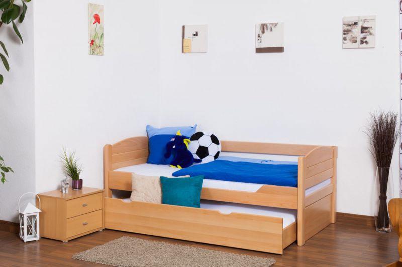 """Kinderbed / jeugdbed """"Easy Premium Line"""" K1/s Voll incl. 2e slaapplaats en 2 afdekplaten, 90 x 200 cm massief beukenhout natuur"""