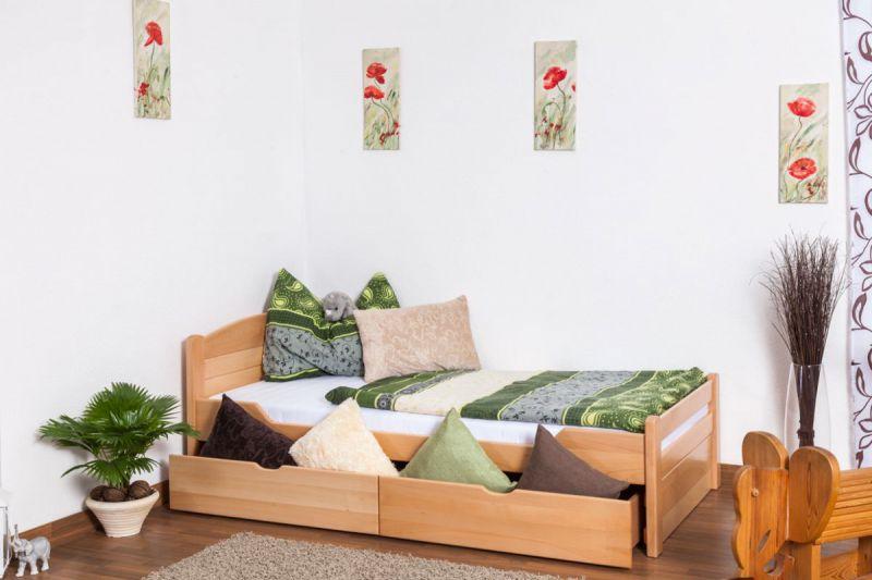 """Eenpersoonsbed / stapelbed """"Easy Premium Line"""" K1/ Volledig incl. 2 laden en 2 afdekpanelen, 90 x 200 cm massief beukenhout naturel"""