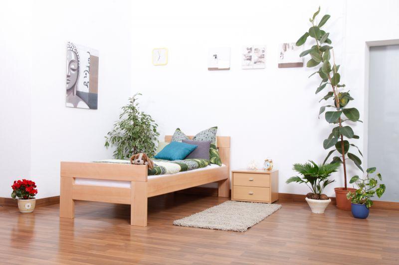 """Eenpersoonsbed """"Easy Premium Line"""" K2, massief beukenhout naturel - afmetingen: 90 x 190 cm"""