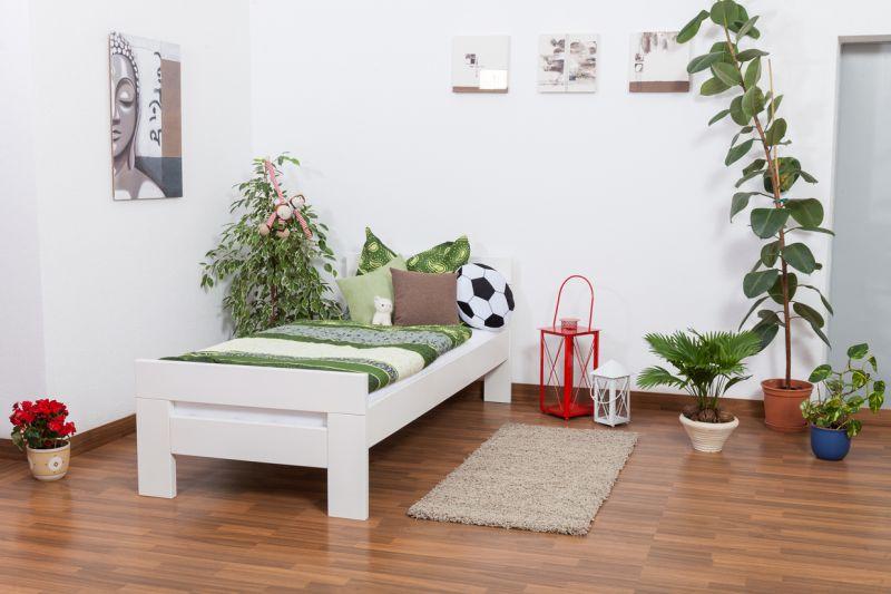 """Eenpersoonsbed """"Easy Premium Line"""" K2, massief beukenhout wit gelakt - afmetingen: 90 x 190 cm"""