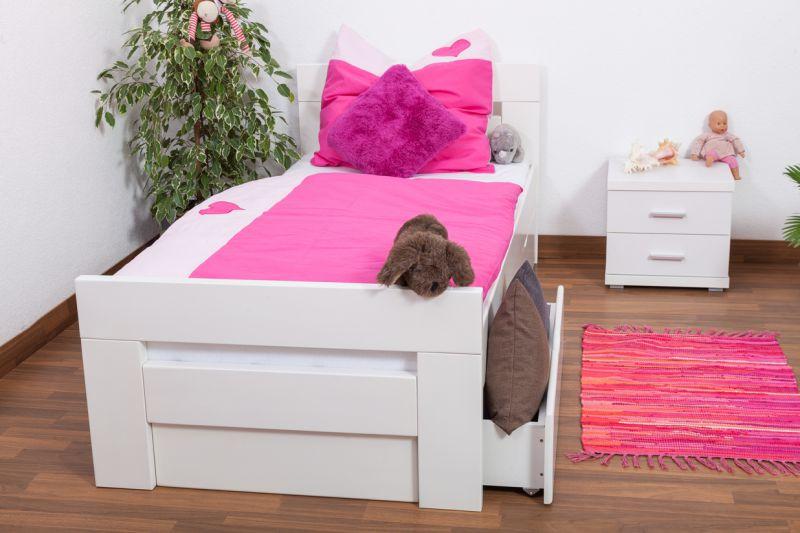 """Kinderbed / jeugdbed """"Easy Premium Line"""" K2 incl. 2 laden en 2 afdekpanelen, 90 x 200 cm massief beukenhout, wit gelakt"""