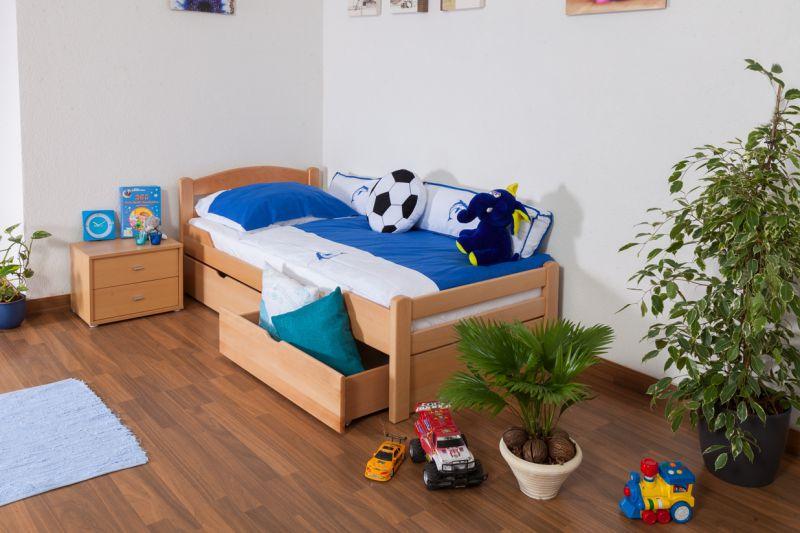 """Kinderbed / Jeugdbed """"Easy Premium Line"""" K1/2n incl. 2 laden en 2 afdekpanelen, 90 x 200 cm massief beukenhout naturel"""
