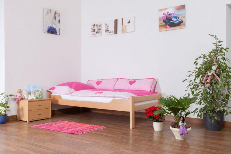 """Kinderbed / jeugdbed """"Easy Premium Line"""" K1/1n, massief beukenhout natuur - afmetingen: 90 x 200 cm"""