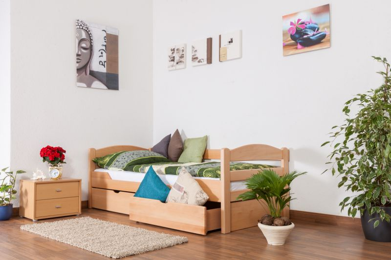 """Eenpersoonsbed  """"Easy Premium Line"""" K1/n/s incl. 2 laden en 2 afdekpanelen, 90 x 200 cm massief beukenhout naturel"""