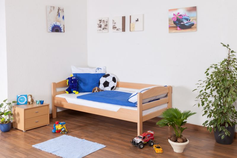 """Jongerenbed / kinderbed """"Easy Premium Line"""" K1/n/s, massief beukenhout natuur - afmetingen: 90 x 190 cm"""