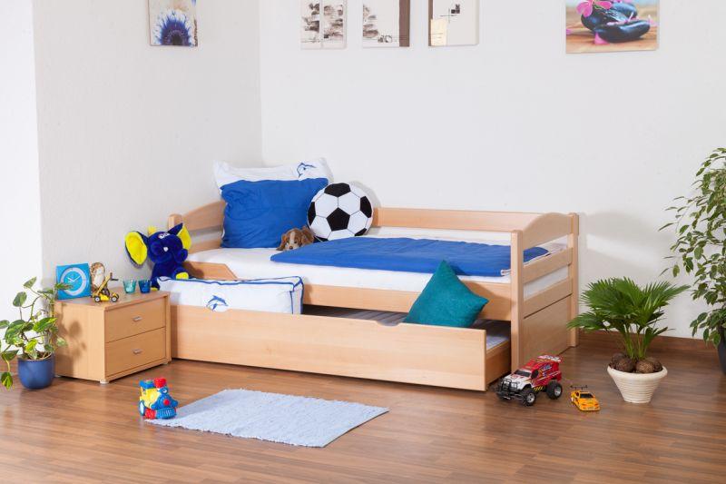 """Kinderbed / jeugdbed """"Easy Premium Line"""" K1/h/s incl. 2e kinderbed en 2 afdekplaten, 90 x 200 cm massief beukenhout natuur"""