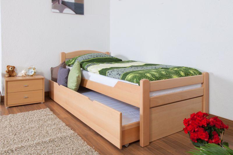 """Eenpersoonsbed / logeerbed """"Easy Premium Line"""" K1/2h incl. 2e bed en 2 afdekplaten, 90 x 200 cm massief beukenhout natuur"""