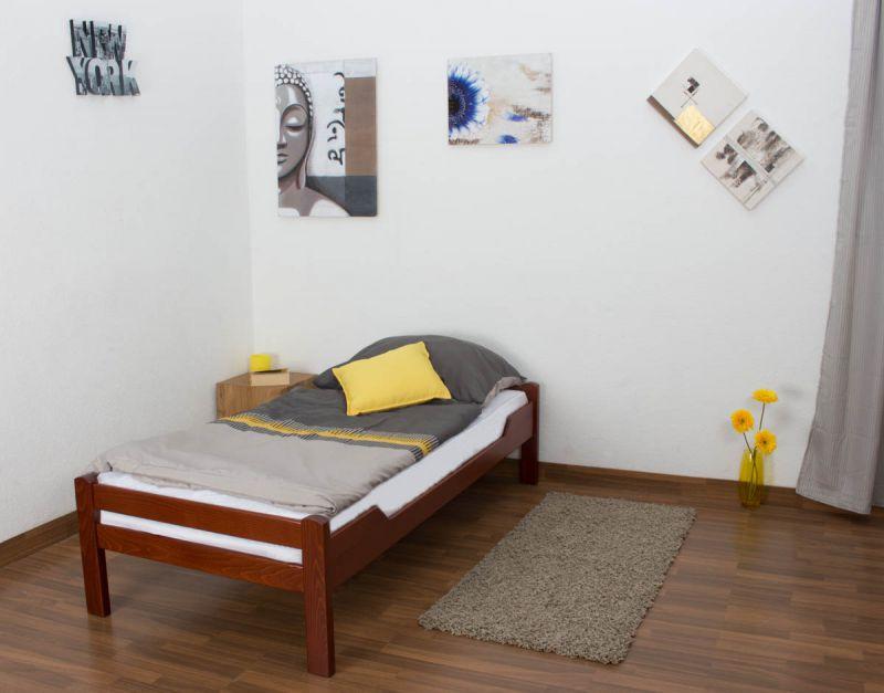 """kinderbed / jeugdbed """"Easy Premium Line"""" K1/1n, massief beukenhout kleur: kersenhout - afmetingen: 90 x 200 cm"""