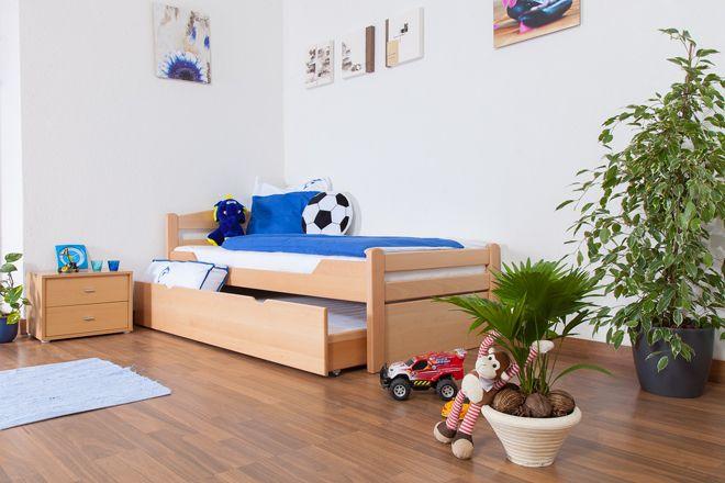 """Kinderbed / jeugdbed """"Easy Premium Line"""" K1/2h incl. 2e kinderbed en 2 afdekplaten, 90 x 200 cm massief beukenhout natuur"""