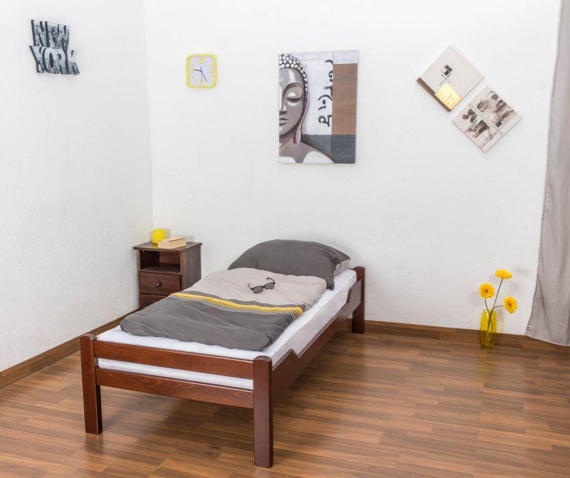 """Eenpersoonsbed """"Easy Premium Line"""" K1/1n, massief beukenhout kleur: donkerbruin - Afmetingen: 90 x 200 cm"""