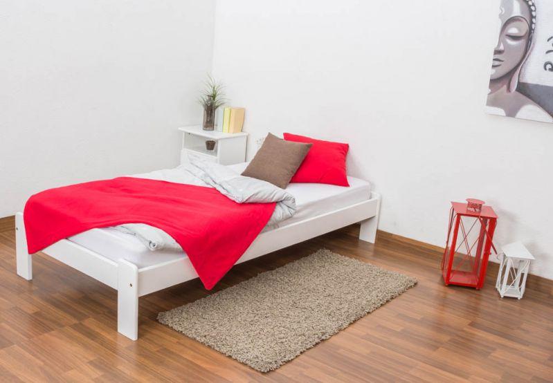 Futonbed / , vol hout, bed massief grenen wit gelakt A10, incl. lattenbodem - afmetingen 90 x 200 cm