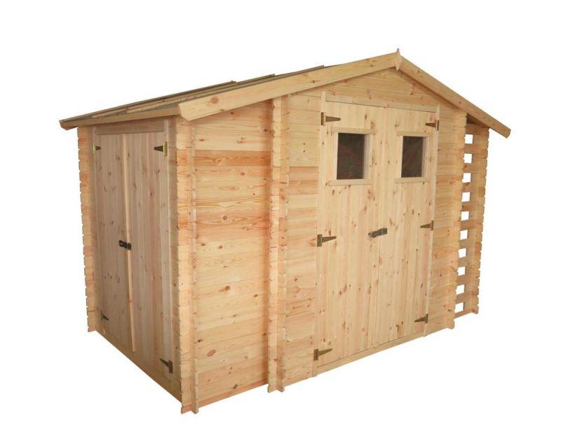 tuinhuis Eisenstadt - 3,12 x 2,00 meter van 19mm blokhutprofielplanken inclusief extra opslagruimte en brandhout overkapping
