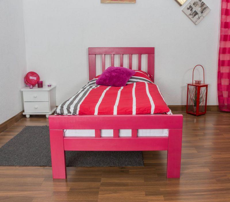 "kinderbed / jeugdbed ""Easy Premium Line"" K8, 90 x 200 cm massief beukenhout kleur: roze gelakt"