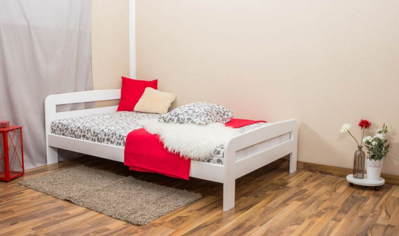 Eenpersoonsbed / logeerbed massief grenenhout,  wit gelakt A6, incl. lattenbodem - afmetingen 120 x 200 cm