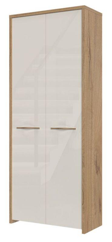 draaideurkast / kledingkast Gataivai 20, kleur: beige hoogglans / noten - 192 x 78 x 36 cm (H x B x D)