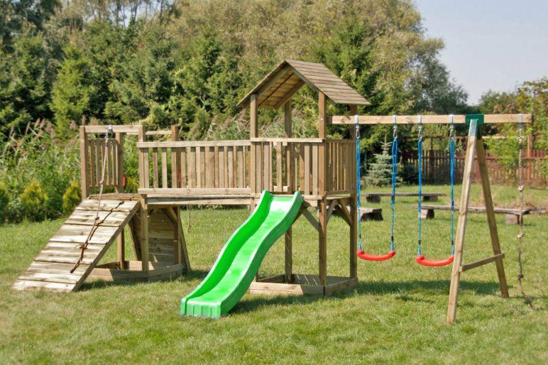 Speeltoren met twee torens incl. golfglijbaan, dubbele schommel aanbouw en klimtouw