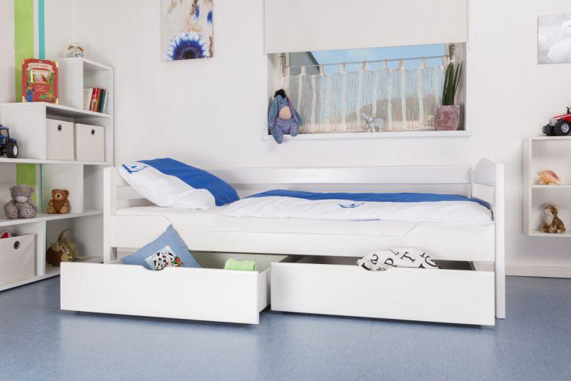 """kinderbed / jeugdbed """"Easy Premium Line"""" K1/n/s incl. 2 laden en 2 afdekpanelen, 90 x 200 cm massief beukenhout, wit gelakt"""