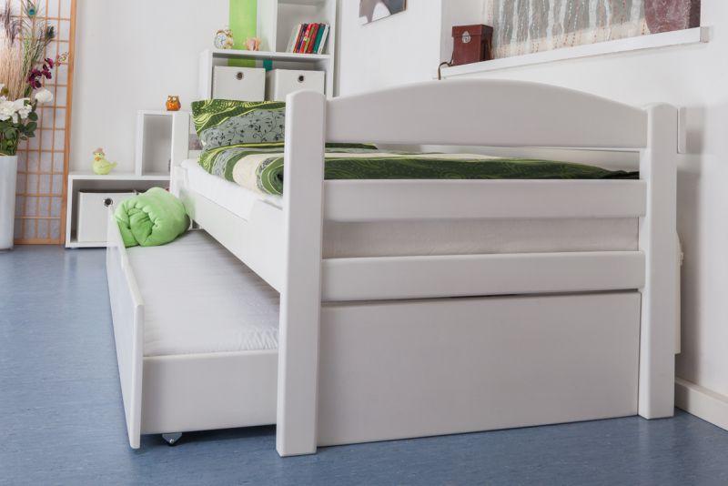 """Eenpersoonsbed / stapelbed """"Easy Premium Line"""" K1/h/s incl. 2e bed en 2 afdekplaten, 90 x 200 cm massief beukenhout wit gelakt"""
