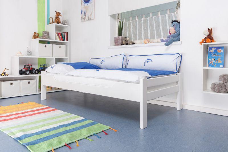 "Kinderbed / jeugdbed ""Easy Premium Line"" K1/1n, massief beukenhout wit gelakt - afmetingen: 90 x 200 cm"