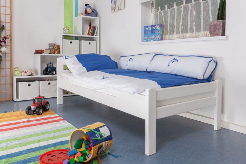 "Kinderbed / jeugdbed ""Easy Premium Line"" K1/2n, massief beukenhout wit gelakt - afmetingen: 90 x 190 cm"