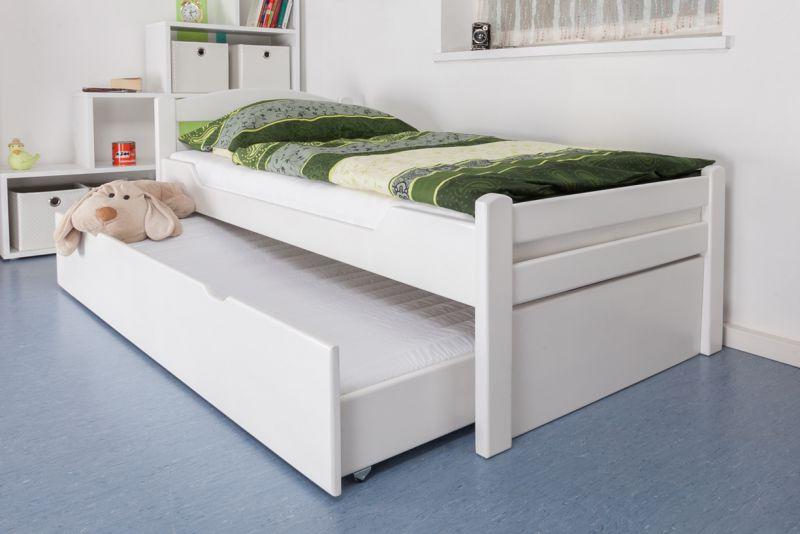 """Eenpersoonsbed / logeerbed """"Easy Premium Line"""" K1/2h incl. 2e bed en 2 afdekplaten, 90 x 200 cm massief beukenhout wit gelakt"""