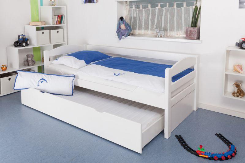 """kinderbed / jeugdbed """"Easy Premium Line"""" K1/h/s incl. 2e onderschuifbed en 2 afdekpanelen, 90 x 200 cm massief beukenhout wit gelakt"""