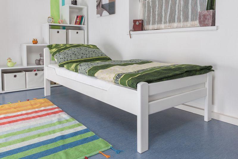 """Eenpersoonsbed """"Easy Premium Line"""" K1/2n, massief beukenhout wit gelakt - afmetingen: 90 x 200 cm"""