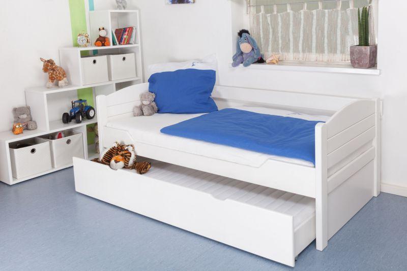 """Kinderbed / jeugdbed """"Easy Premium Line"""" K1/s Voll incl. 2e slaapplaats en 2 afdekplaten, 90 x 200 cm massief beukenhout wit gelakt"""