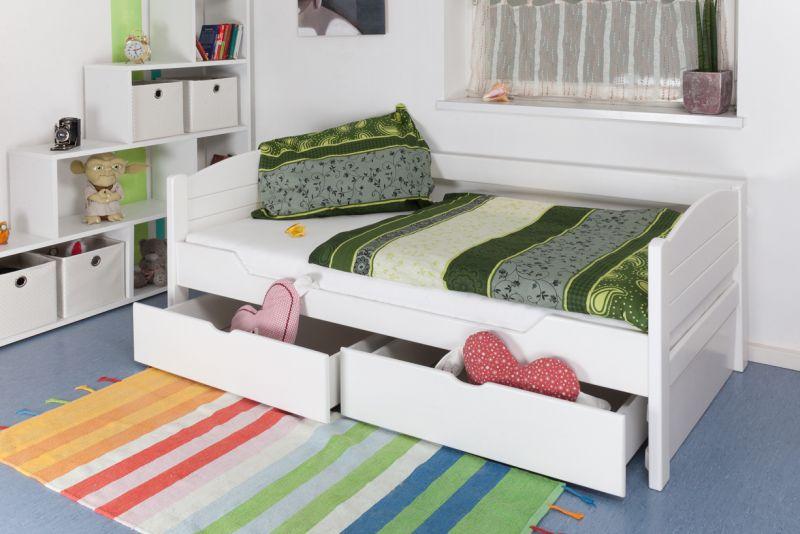 """Eenpersoonsbed / speciaal bed """"Easy Premium Line"""" K1/s Voll incl. 2 laden en 2 afdekpanelen, 90 x 200 cm wit gelakt massief beukenhout"""
