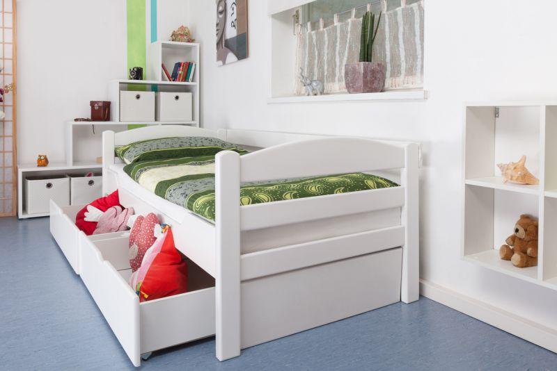 """Eenpersoonsbed """"Easy Premium Line"""" K1/n/s incl. 2 laden en 2 afdekpanelen, 90 x 200 cm massief beukenhout, wit gelakt"""