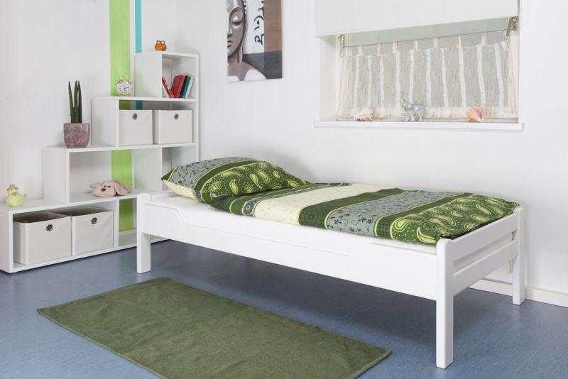 """Eenpersoonsbed """"Easy Premium Line"""" K1/1n, massief beukenhout wit gelakt - afmetingen: 90 x 190 cm"""