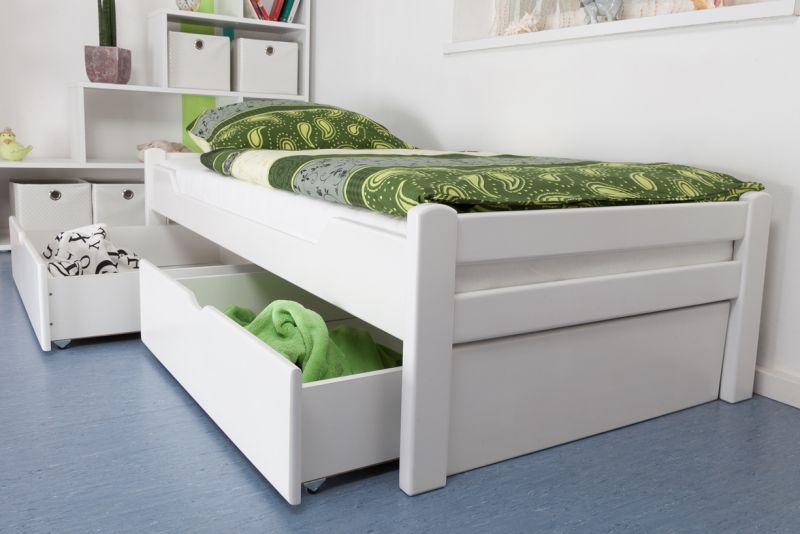 """Eenpersoonsbed / logeerbed """"Easy Premium Line"""" K1/1n incl. 2 laden en 2 afdekpanelen, 90 x 200 cm massief beukenhout, wit gelakt"""