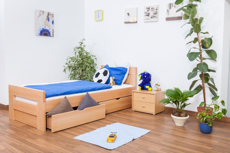 """Kinderbed / jeugdbed """"Easy Premium Line"""" K2 incl. 2 lades en 2 afdekplaten, 90 x 200 cm massief beukenhout natuur"""