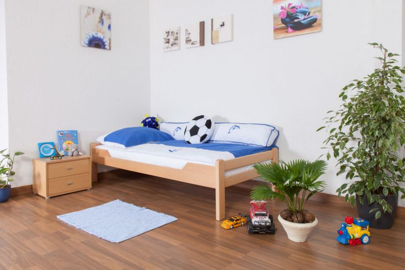 """Kinderbed / jeugdbed """"Easy Premium Line"""" K1/1n, massief beukenhout natuur - afmetingen: 90 x 190 cm"""