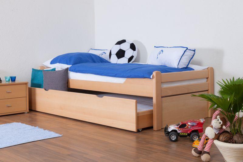 """Kinderbed / jeugdbed """"Easy Premium Line"""" K1/1h incl. 2e kinderbed en 2 afdekplaten, 90 x 200 cm massief beukenhout natuur"""