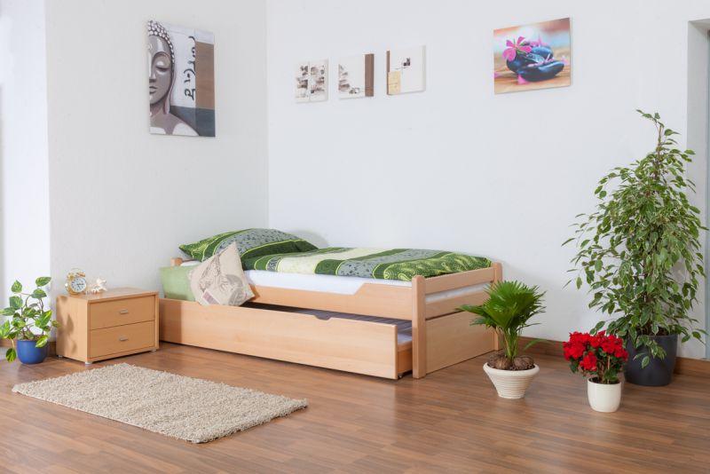 """Eenpersoonsbed / logeerbed """"Easy Premium Line"""" K1/1h incl. 2e bed en 2 afdekplaten, 90 x 200 cm massief beukenhout natuur"""