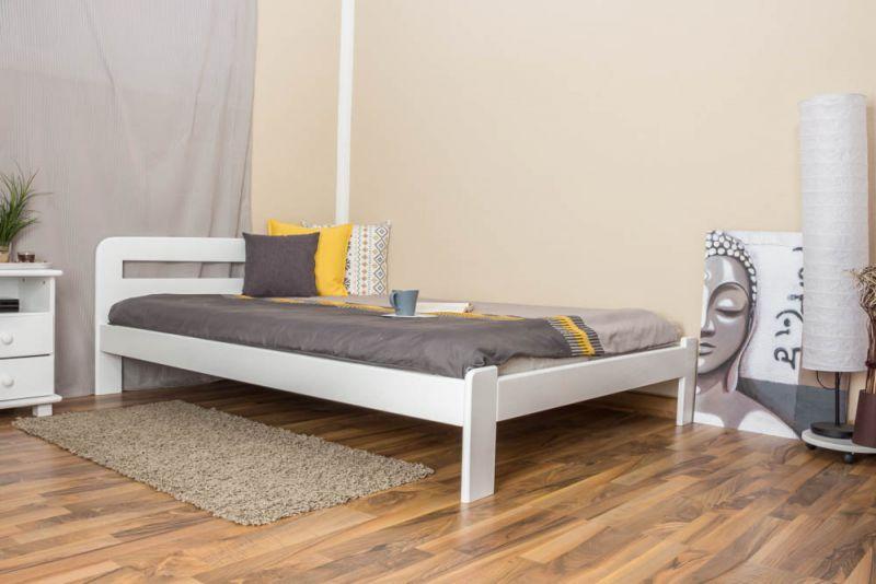 Eenpersoonsbed / logeerbed massief grenenhout, wit gelakt A5, incl. lattenbodem - afmetingen 140 x 200 cm