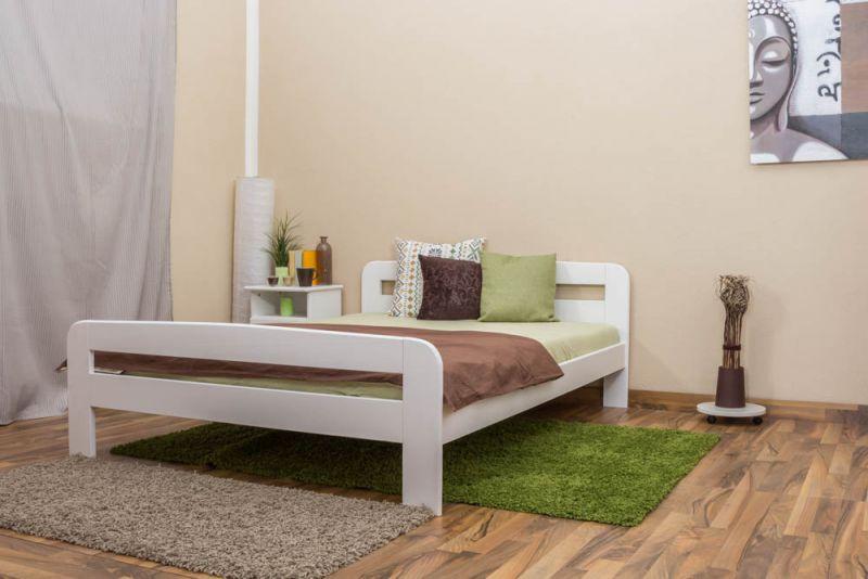 Eenpersoonsbed / logeerbed massief grenenhout, wit gelakt A6, incl. lattenbodem - afmetingen 140 x 200 cm
