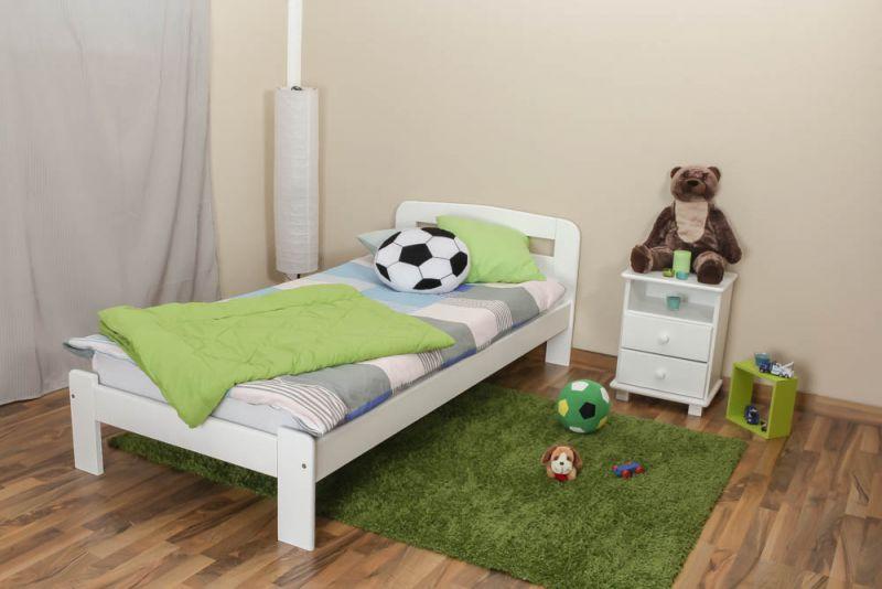 kinderbed / jeugdbed massief grenenhout,  wit gelakt A5, incl. lattenbodem - afmetingen 90 x 200 cm