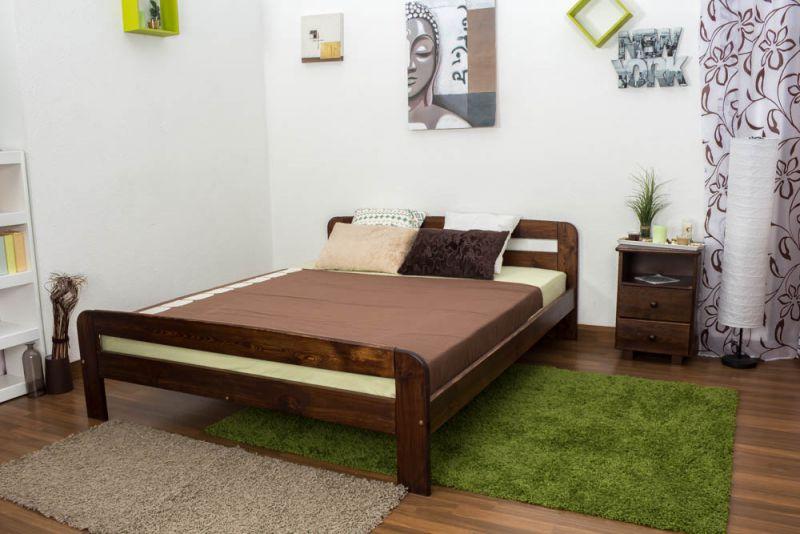 Tweepersoonsbed / logeerbed massief hout massief walnoten kleur uitstraling A6, incl. lattenbodem - afmetingen 160 x 200 cm